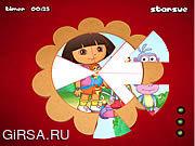Флеш игра онлайн Даша - иследователь. Пазл / Dora The Explorer - Round Puzzle