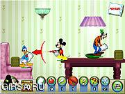 Флеш игра онлайн Микки и друзья - Бои подушками