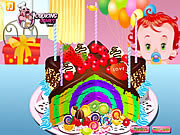 Флеш игра онлайн Rainbow Clown Cake