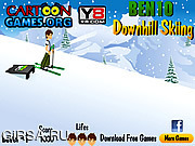 Флеш игра онлайн Бен 10 Горные Лыжи / Ben 10 Downhill Skiing