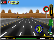 Флеш игра онлайн Бен-скейтбордист / Ben 10 Highway Skateboarding