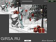 Флеш игра онлайн Иностранное Рождество / Christmas Alien Jigsaw