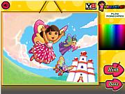 Флеш игра онлайн Дора и хрустальное королевство. Раскраска / Dora Crystal Kingdom Coloring