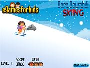 Флеш игра онлайн Дора-горнолыжница / Dora Downhill Skiing