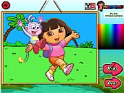 Флеш игра онлайн Дора - исследователь. Расскраска / Dora The Explorer Coloring