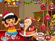 Флеш игра онлайн Рождественская вечеринка у Доры / Dora with Santa Dressup