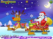 Флеш игра онлайн Счастливый Санта Клаус и олени / Happy Santa Claus and Reindeer