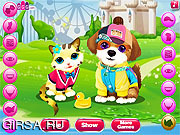 Флеш игра онлайн Котенок и собачка