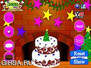 Флеш игра онлайн Рождественский торт / Marry Christmas Cake Decoration