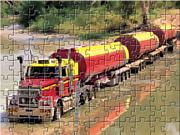 Флеш игра онлайн Путешествие на грузовике / Road Train Truck Puzzle