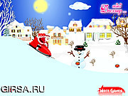 Флеш игра онлайн Санта-Клаус и снегоход / Santa Clause with Snowmobile