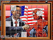 Флеш игра онлайн Sort My Tiles Obama and Spiderman