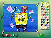Флеш игра онлайн Губка Боб и рыбка / Spongebob With Jelly Fish