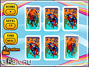 Флеш игра онлайн Карточная игра. Супермен / Superman Memory Match
