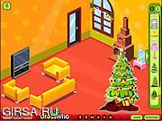 Флеш игра онлайн Укрась Гостиную к Рождеству / Winter Lodge Deco